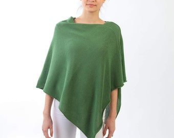 Lightweight poncho, Cashmere blend poncho, Green cape, Knitted poncho, Knitted cape, Cashmere lambswool viscose poncho,Knitted summer poncho