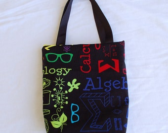 Fabric Gift Bag/ Party Favor Bag- Math and Science Geekery on Black