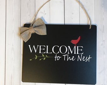 Welcome Sign, Front Door Sign, Welcome to The Nest, Sign for Front Door, Housewarming Gift, New Home Gift, Door Sign, Wreath Sign