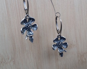 Handmade Sterling Silver Flower Earrings