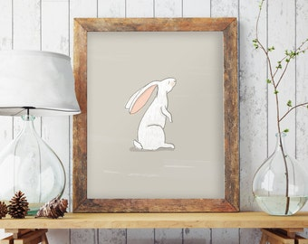 Bunny wall print, Nursery bunny print, Animal print, Kids prints, Baby room decor, Nursery art, Nursery decor, Rabbit print, BD-1075