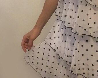Vintage 1980s polka-dot ruffle dress, tiered open v-neck, sweet, soft, pretty party dress
