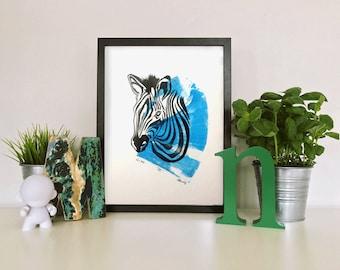 Blue Linocut Print Zebra, Green,Red, A4 Wall Art, Limited Edition, Custom Prints by ENNA