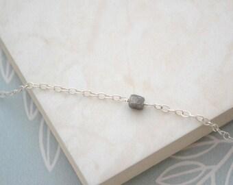 SPRING SALE, Diamond Cube Necklace, 925 Sterling Silver, Rough Diamond, Crystal Cube Necklace, Gift for Her, UK Seller