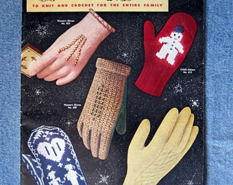vintage 1953 Bear Brand knitting booklet, Gloves and Mittens to Knit and Crochet for the Entire Famly