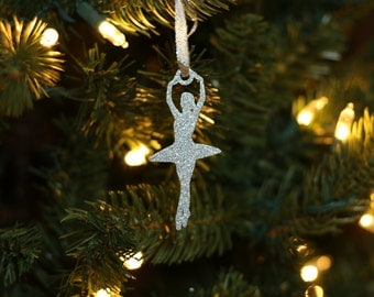 Ballerina Christmas Ornament - Christmas Ornament - Silver - Gold - Sparkley Ornament - Ballerina Gift - Dancer Christmas Ornament - Ballet