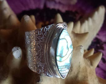 Dream Your Dreams Mermaid~Bohemian Gypsy Abalone Shell Natural Gemstone 925 Sterling Silver Boho Statement Ring Size 9.5