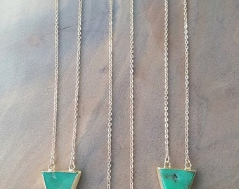 Chrysoprase Triangle Pendant Necklace - Chrysoprase Necklace - Triangle Stone Necklace - Green Stone Necklace