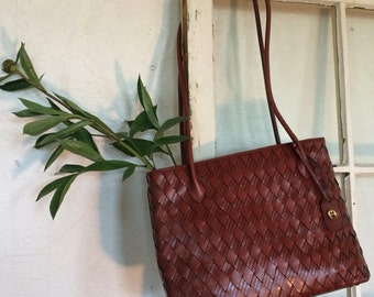 Unique 90s Vintage Brown Leather Tote; Bohemian Chic Etienne Aigner Woven/Embellished Whiskey Leather Bag/Leather Tote Zipper