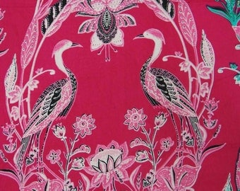 "Apparel Fabric, Bird Print, Magenta Fabric, Dress Material, Sewing Decor, Home Accessories, 43"" Inch Cotton Fabric By The Yard ZBC7175B"