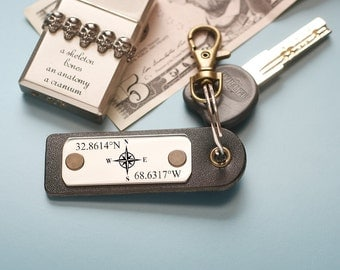 Personalized mens gift, gift for him, Custom mens gift, Your Own Message, Personalized Custom Leather Keychain,  anniversary gift,