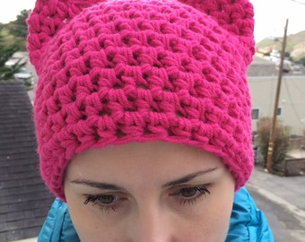 Pussyhat-Pink Pussyhat-Pink Pussy Hat-Pussy Hat-Pussycat Project-Woman's Pussycat Hat-Womens March