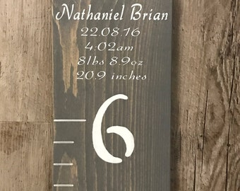 Customizable Birth Details Growth Chart | Birth Stats Ruler | Personalized Ruler | Nursery Decor | Playroom Decor | Playroom Wall Art