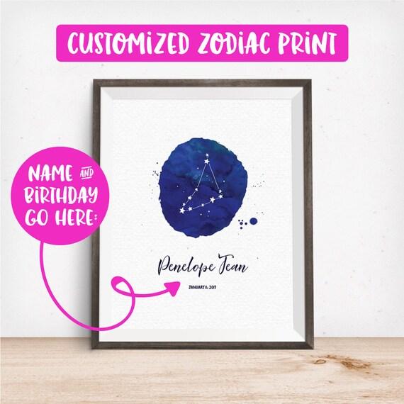 Customized Printable Art, Zodiac Print, Your Choice of Name & Birthday, Personalized, Zodiac Symbol Art, Home Decor, Digital Download Print