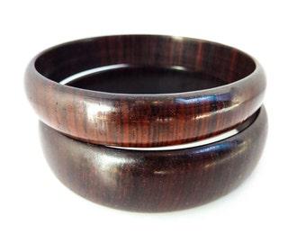 Vintage 1960s Wood Bracelets in Set of Two Dark Cocoa Brown Bangles