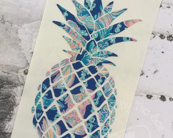 Lilly Pulitzer Inspired Pineapple Decal |  Yeti Decal |  Lilly Car Decal | Pineapple Decal | Lilly Pineapple | Rtic Decal | Car Decal