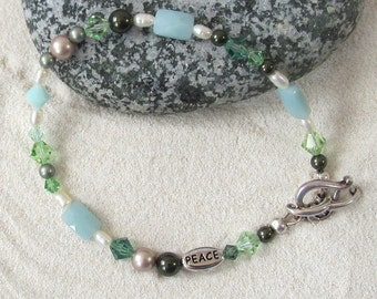 Bracelet With Pale Blue & Green Swarovski Beads - Inspirational Jewelry - Larger Wrist Bracelets - Nature Inspired Jewelry