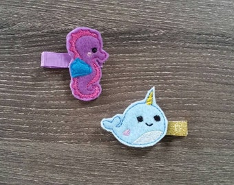 Sea Horse and Narwhal Feltie Clip Set, Feltie Hair Clips, Purple Sea Horse Clip, Narwhal Hair Clip with Gold Ribbon, No Slip Hair Clips