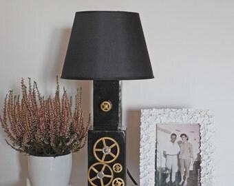 Recycled wood, wood table lamp black lamp, wood lamp, industrial lamp, steampunk lamp, desk lamp, eco friendly lamp