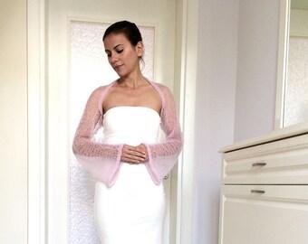 Light Pink Knitted Shrug / Elegant Spring Mohair Bolero / Designer Shrug / Bohemian Fashion / Gift for Her / Handmade by Marsiybell MB02K