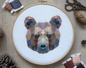 Bear Cross Stitch Pattern, Geometric Animals, Animal Cross Stitch, Bear Embroidery, Nursery Wall Art, Woodland, PDF Format, Instant Download