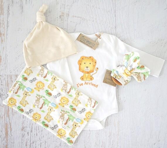 Organic Baby Clothes Gender Neutral Baby Shower Gift Safari