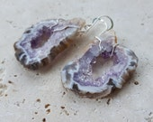 Natural Amethyst Occo Geode Slice Earrings, Natural Agate with Amethyst Druzy Gemtone Earrings, Healing Crystals, February Birthstone