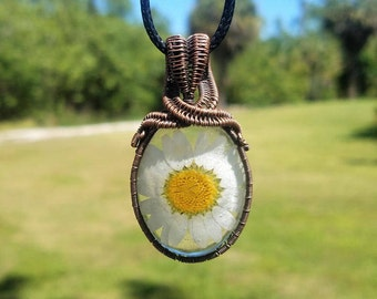 Beautiful Daisy resin cabochon wrapped with oxidized copper wire pendant necklace