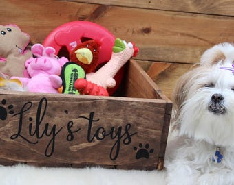 Pet Toy Box, Dog Box, Cat box, Personalized dog Toy Box, Pet Treasure Box, Wooden Crate, Dog Toy Storage, Pooch Toy Bin, Pet Toy Bin