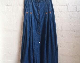 Western Denim Maxi Skirt