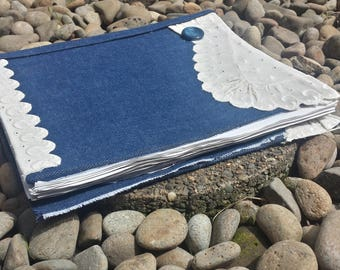 Denim journal/scrapbook/diary/notebook with tea dyed papers/handmade journal/unique journals/handmade scrap book/handmade diary/jean journal
