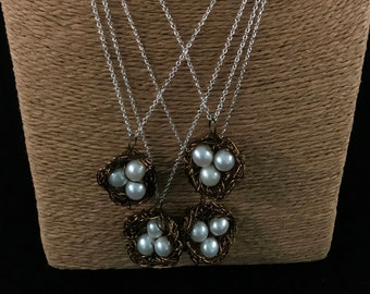 Pearls Birds Nest Necklace
