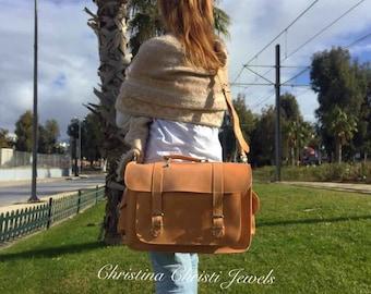 Women Messenger Bag, Leather Messenger Bag, Leather Briefcase, 15'' Laptop Bag, Laptop Briefcase, Leather Office Bag, Made in Greece.