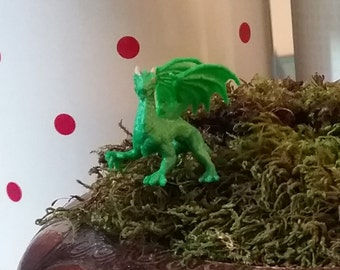 1 Miniature Green Dragon for fairy garden / succulent/ game of thrones / terrarium / mini garden