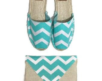 Womens aqua chevron espadrille sandals - womens sandals - womens shoes - espadrilles - clutch - purse - shoe and purse set - monogram