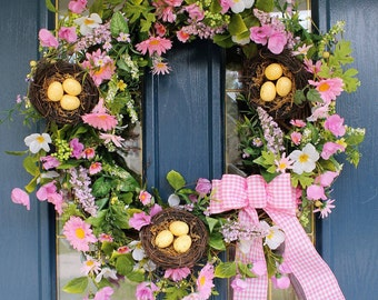Captivating Wreaths For Spring, Pink Spring Wreaths, Yellow Spring Wreaths, Spring Door  Wreaths,