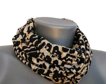 Scarf, handmade, with Leoprint, 148 cm x 24 cm, art. No. 8019