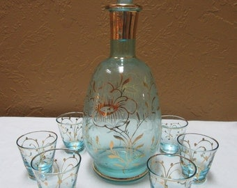 Czech Blue Glass Decanter with Shot Glasses, Blue and Gold Czech Decanter Set, Czech Decanter Set in Blue and Gold ca. 1940s