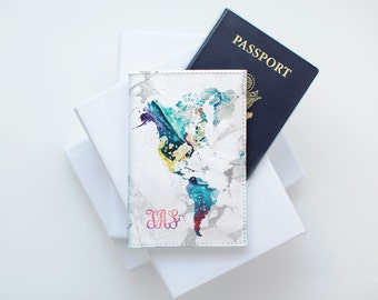 Marble Passport Cover Passport Holder Map Case Personalized Leather Gift Travel Passport Sleeve Marble Gift Leather Colorful Map CP0041