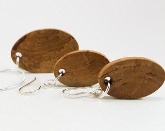 Spalted Hawthorne Wood Jewelry Set, Earrings, Pendant