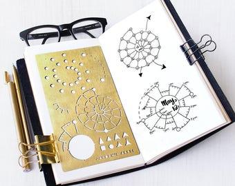 Bullet Journal Stencil, Spiraldex Stencil, Chronodex Stencil, Planner Stencil - fits A5 journal & Midori Regular (Spiraldex L)