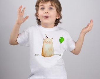 Funny Cat Shirt for Kids Fat Party Cat with Baloon Boys Shirt Girls Shirt Animal Shirt Graphic Tshirt Cool Tee Shirt Birthday Gift PA1099