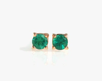 emerald earrings, emerald earrings gold, gift for women, natural emerald earrings, emerald jewelry, green earrings, 3mm stud earrings