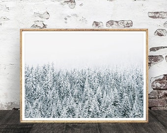 Forest Print, Misty Forest Print, Winter Forest Photo, Snowy Forest Poster, Wildwood Print, Forest Poster, Woodland Print, Digital Print