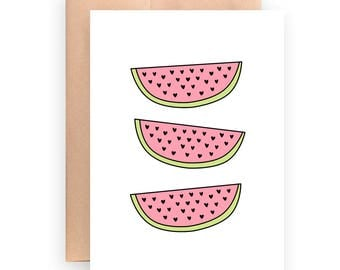 Printable Card | Fruit Card | Summer Card | Just Because | 5x7 Card | Pink And Green | Watermelon Card | Printable Fruit Card