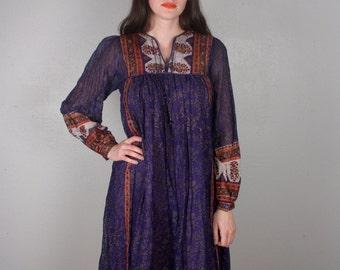 Vintage 1970's India Dress /Indian Cotton Gauze / Quilted Yoke / Festival Boho Hippie / Blue Purple Dress