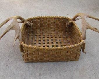 Handmade Reed Basket, Shed Mule Deer Antler Handled Newspaper Basket,OOAK
