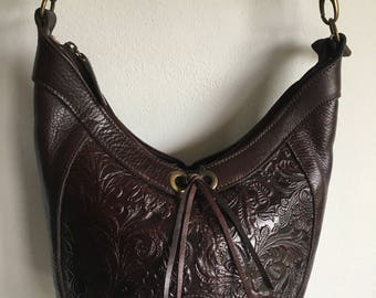 leather tooled purse | chocolate brown | bohemian