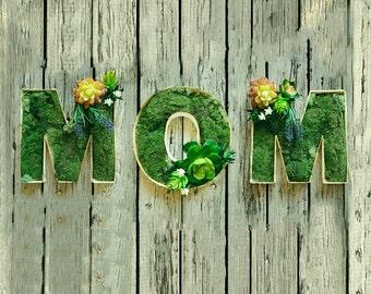 Wooden Decorative letters, Succulents, MOM Letters, Succulents letter gift, present for mum, wedding favours, Moss letters, Garden decor