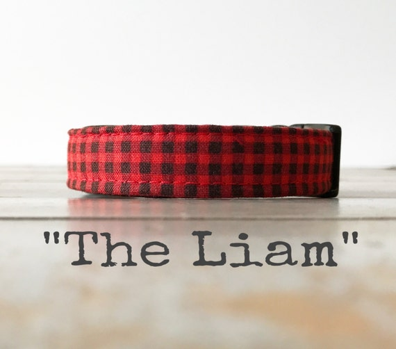 DOG COLLAR, Made to Order, Mini Buffalo Plaid, Buffalo Check, Cool COLLAR,  Gender Neutral Dog Collar, Cozy Collar
